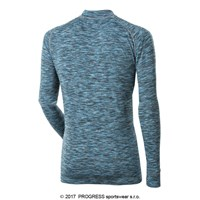 SKINNER mens zip neck long sleeve T-shirt turquoise melange