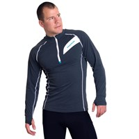 FALCON mens 1/3 zip neck sports pullover Dk.grey melange/turquoise