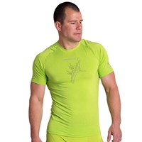E NKR mens bamboo short sleeve T-shirt black/Lt.green sew.