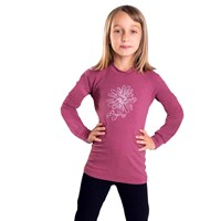 "PEDRO KID kids bamboo long sleeve T-shirt turquoise melange - ""wolf footprint"""