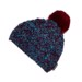 PATROLA knitted beanie with bobble turquoise/mustard/wine red